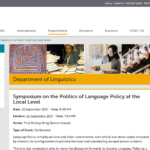 SOAS Symposium on the Politics of Language Policy at the Local Level